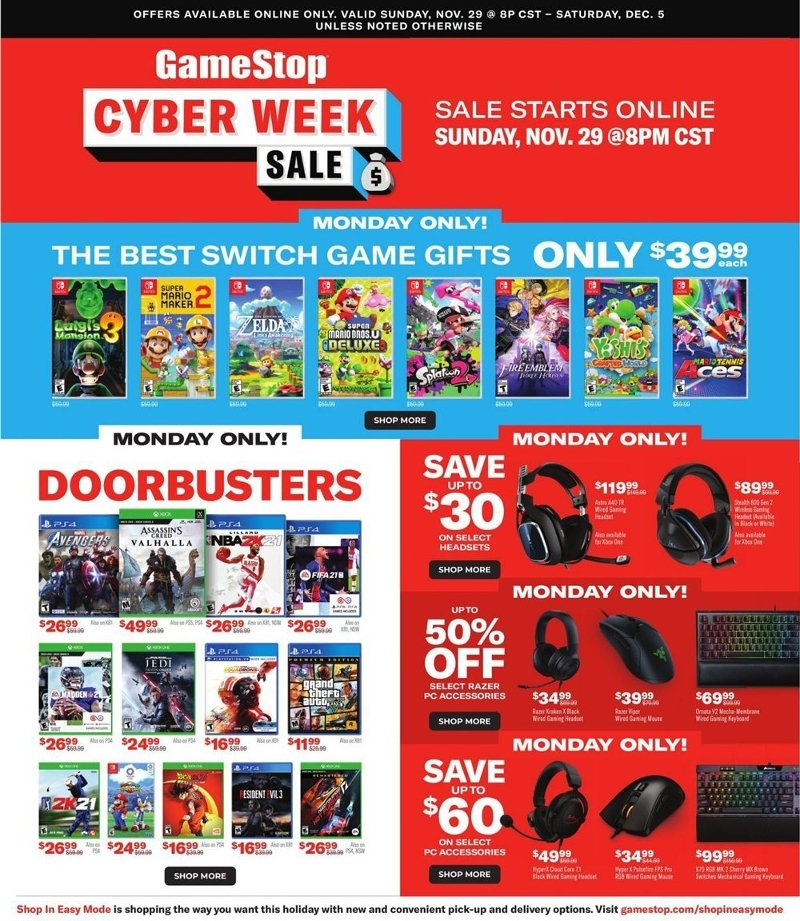 GameStop Cyber Monday 2020 Page 1