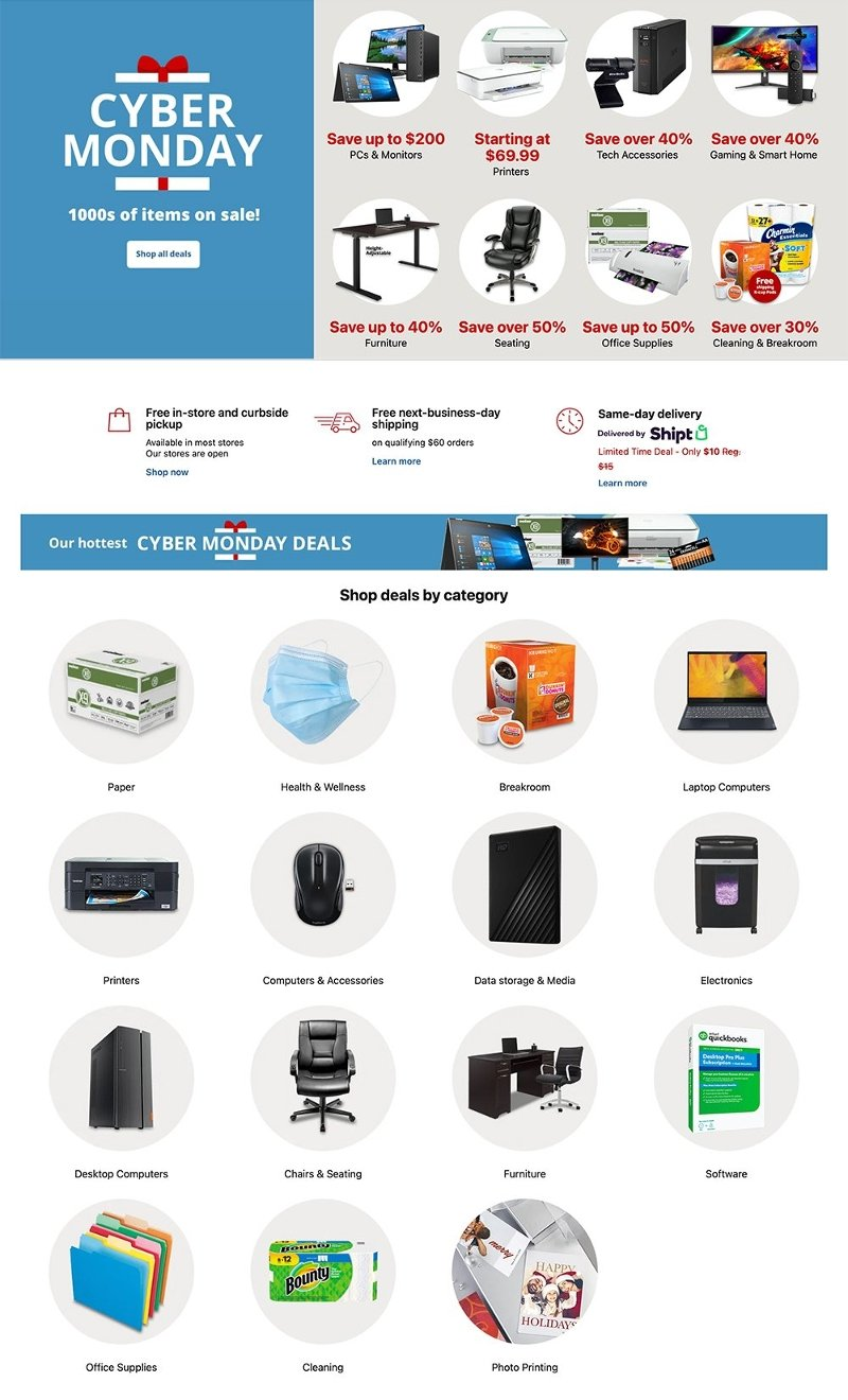 Office Depot & OfficeMax Cyber Monday 2020 Page 1